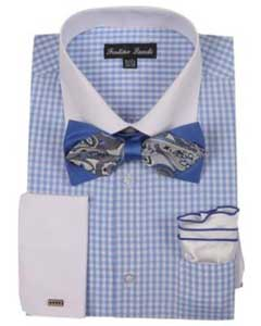 ID#SM487 White Collared Contrast Blue French Cuff Checks Cheap Fashion Clearance Shirt Sale Online For Men With High Fashion Bowtie And Handkerchief