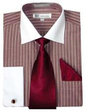 Stylish Classic French Cuff Striped Dress Cheap Fashion Clearance Shirt Sale Online For Men with Tie and cuff Burgundy
