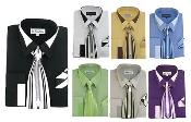 Classic French Cuff Dress Cheap Fashion Clearance Shirt Sale Online For Men Combo w/ tie and Handkerchief