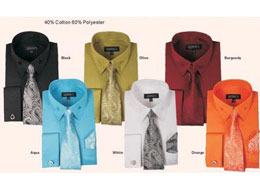 ID#PN_S65 French Cuff Dress Cheap Fashion Clearance Shirt Sale Online For Men With Tie And Handkerchief Combo Varies Colors