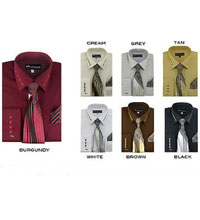 ID#PN_P2 French Cuff Dress Cheap Fashion Clearance Shirt Sale Online For Men + Tie + Handkerchief For