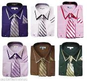 ID#PN86 Classic French Cuff Dress Cheap Fashion Clearance Shirt Sale Online For Men With Tie And Handkerchief Style Multi-Color
