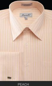 ID#MK678 Fratello French Cuff Peach Dress Inexpensive ~ Cheap ~ Discounted Fashion Clearance Shirt Sale Online For Men - Herringbone Tweed Stripe Big and Tall Suits Sizes 18 19 20 21 22 Inch Neck