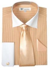 Stylish Classic French Cuff Striped Dress Cheap Fashion Clearance Shirt Sale Online For Men with Tie and cuff Peach