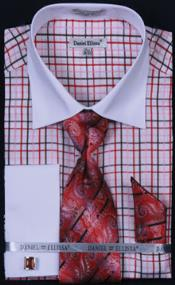 Daniel Ellissa French Cuff Dress Shirt Combo red pastel color 18 19 20 21 22 Inch Neck Big and Tall  Large Man ~ Plus Size Suits