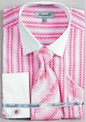 Fratello Jacquard Two Tone French Cuff Dress Cheap Fashion Clearance Shirt Sale Online For Men Combo Fuchsia