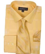 ID#NM14324 Men's Shadow Striped Tie with Hanky 60% Cotton 40% Polyester Gold Dress Cheap Fashion Clearance Shirt Sale Online For Men