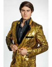 2 Button Gold Sequin
