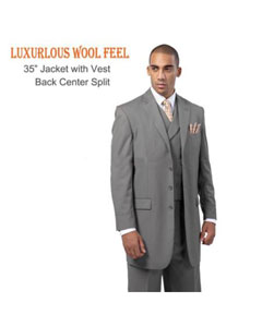 ID#FZ7291 New Four buttons Style three piece low priced fashion Outfits Suits for Men Luxurious Wool fabric Feel Suit with Double Breasted Vest Grey