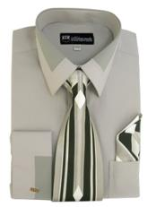 ID#NM808 Gray French Cuff Dress Cheap Fashion Clearance Shirt Sale Online For Men + Tie + Handkerchief Set