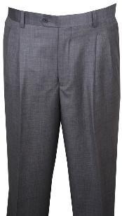 ID#KL110 Long length rise big leg slacks Dress Pants Light Gray Wool fabric Wide Leg Pants Pleated creased baggy dress trousers