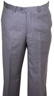 ID#HU447 Dress Pants Light Gray Wool fabric without pleat flat front Pants