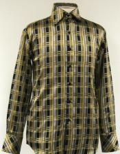 ID#AC-494 Fancy Man Made Fiber Dress Cheap Fashion Clearance Shirt Sale Online For Men With Button Cuff Dark Olive Green