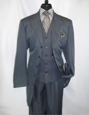 ID#NM14272 Men's Grey Steel 5 Button Notch 3 ~ Three Piece Lapel Extra Long Zoot Vested Suit