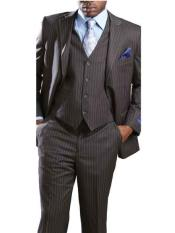 ID#SM670 3 Piece Big & Tall Suits Big and Tall  Large Man ~ Plus Size Notch Collared Grey Executive Pinstripe Suit