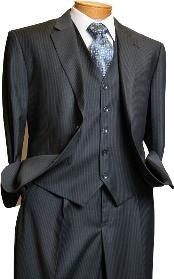 ID#RV1290 Signature Platinum Stays Cool Inexpensive ~ Cheap ~ Discounted Reduced Price 3 ~ Three Piece Grey Pinstripe Italian Design suit
