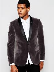 ID#RM1611 Grey ~ Gray Velvet Dark color black Lapeled Shawl Collar tuxedo Dinner Jacket Best Cheap Blazer For Affordable Cheap Priced Unique Fancy For Men Available Big Sizes on sale Men Affordable Sport Coats Sale And Perfect For Wedding
