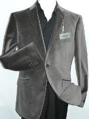 ID#K5-T Gray~Grey Velvet Sportcoat Jacket Entertainer Formal or trendy informal casual Sport Coat Cotton