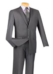 ID#VJ15047 3 ~ Three Piece 100% Wool Executive Suit - Narrow Leg Flat Front Pants Heather Grey