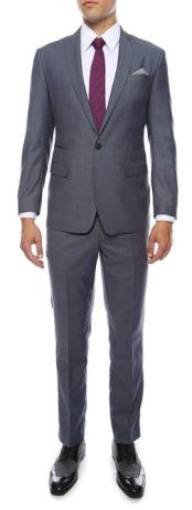 Extra Inexpensive ~ Cheap ~ Discounted Clearance Sale Prom Skinny Flat Front Pants Tapered Jacket and Pants Grey/Blue Peak Collared Extra Slim Fit Suit