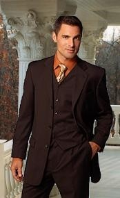 ID#KTS361 Coco Chocolate brown Superior fabric 150'S EXTRA HAND MADE 3 - Three Piece suit WITH A VEST