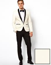 ID#F-87A ?? ?? Ivory ~ Cream ~ Off White Shawl Collar Tuxedo Dinner Jacket / Sportcoat Blazer ~ Suit Jacket Dark color black Trouser