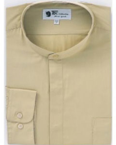 ID#D-02G Online Indian Wedding Outfits ~ Mandarin ~ Nehru Collar Jacket Collarless Style Dress Shirts Khaki