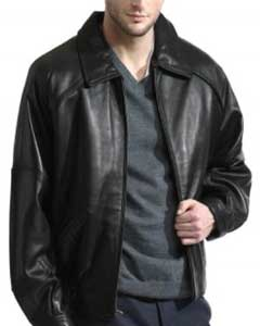 Retro Throwback Lambskin Leather skin Dark color black - Big and Tall Bomber Jacket
