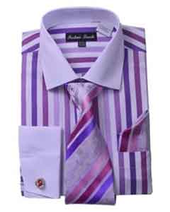 ID#SM493 Fashion Unique Stripe Cheap Fashion Clearance Shirt Sale Online For Men Tie White Collared Contrast And Hanky Matching Color Lavender
