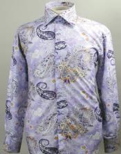 ID#AC-477 Fancy Man Made Fiber Dress Cheap Fashion Clearance Shirt Sale Online For Men With Button Cuff Lavender