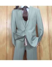 ID#KO19118 3 ~ Three Piece Light Blue Single Breasted 1 button style Peak Lapel Vested Inexpensive ~ Cheap ~ Discounted Clearance Sale Extra Slim Fit Prom Suit