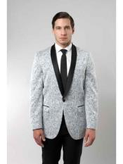 Floral ~ Flower Satin Shiny Dark black Collared Grey Tuxedo Paisley Fancy Stage Party Dance Jacket Black and Silver Suit Light Gray ~ Grey Best Cheap Blazer Cheap Priced Unique Fancy Big Sizes Sport Coats Sale