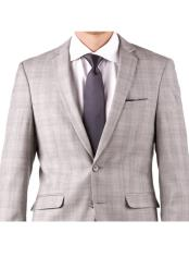 Light Gray Plaid Cheap Clearance Sale Extra Slim Fit Prom Groom & Groomsmen Suits