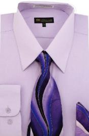 ID#SW908 Milano Moda Classic Cotton Dress Cheap Fashion Clearance Shirt Sale Online For Men with Ties and Handkerchiefs Lilac