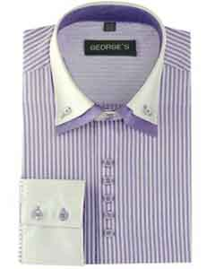 ID#SM485 Long length Sleeve Lilac Dress Cheap Fashion Clearance Shirt Sale Online For Men Two Tone Striped Standard Cuff White Collared Contrast
