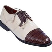 ID#KA6372 Lizard skin & Gator Tip Dress Cheap Priced Exotic Skin Shoes For Sale For Men Bone With Coco Chocolate brown