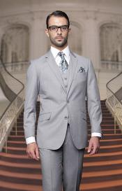 ID#PN_L52 Big and Tall  Large Man ~ Plus Size Suits Or Extra Long length Tall Vested 3 ~ Three Piece Wool fabric Italian XL Jacket + Sportcoat Jacket + Pants Dress Suit Basic Solid Plain Gray