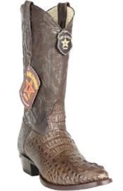 Authentic Los altos Handcrafted Round Toe Genuine Caiman skin Hornback Coco Chocolate brown Boots