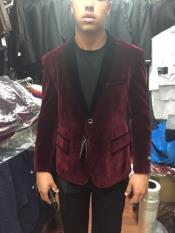 ID#AY74 Burgundy ~ Maroon Mens Velvet Tuxedo Jacket Shawl Collar / Graduation Homecoming Outfits Best Cheap Blazer Cheap Priced Unique Fancy Big Sizes on sale Affordable Sport Coats Sale Velour Dinner Jacket