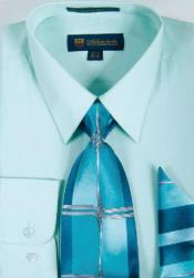 ID#SW909 Milano Moda Classic Cotton Dress Cheap Fashion Clearance Shirt Sale Online For Men with Ties and Handkerchiefs Mint