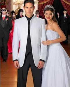 ID#KA1473 White Mandarin Mirage Tuxedo With Matching Dark color black Pants