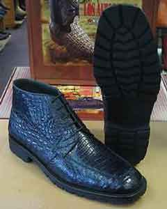 ID#AC-884 Genuine All crocodile Botines Para Hombre skin Caiman skin navy blue colored Ankle Boot