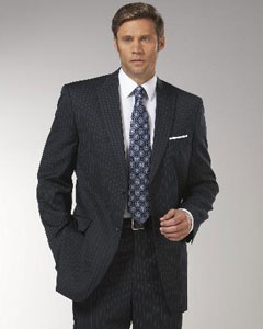 ID#ER2973 Navy Blue Wedding / Prom Stripe ~ Pinstripe Peak Collared affordable suit online Reduced Price