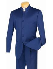 Blue Mandarin Banded Collar