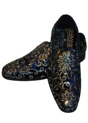 ID#VI23002 Gold Silver Embroidered Slip On Style Fancy Velvet Black With Navy Blue Mens Two Tone Vintage Dress Shoes
