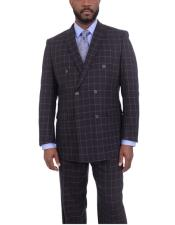 ID#DB22202 Double Breasted Navy Blue Windowpane Pattern Classic Fit Peak Lapel Suits