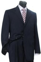 Conservative navy blue colored Pinstripe crafted professionally italian fabric Three button Style Suit
