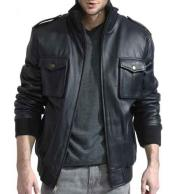 ID#NM996 Men's Navy Lambskin Leather Military Bomber With Knit Trim Jacket