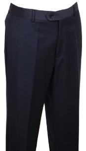 ID#WK444 Dress Pants Navy without pleat flat front