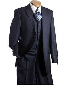 ID#YD3490 3 ~ Three Piece Vested Navy TNT Designer affordable suit online Reduced Price